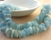 Smooth polished aquamarine nuggets/ freeform rondelle beads  8-15mm 1/2 strand