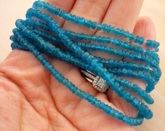 Neon blue apatite faceted rondelle beads 3-3.5mm 1/2 strand