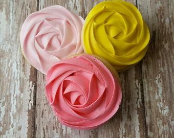 1.5 Dozen Rose Rosette Sugar Cookies