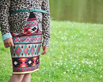 Girls Knit pencil skirt in tribal stripes