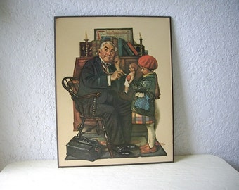 Large vintage Norman Rockwell wall hanging glossy pictures on pressed board.  1970s