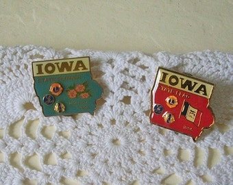 Two Iowa State Lion's Club Trading Pins, State Flower and State Flag