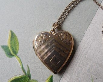 Vintage Etched Heart Picture Locket or Charm w/ Monogram Cartouche