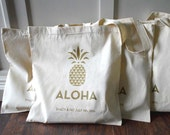 RESERVED 50 Pineapple Aloha Custom Canvas Wedding Tote Bags - Eco-Friendly Natural Cotton Canvas