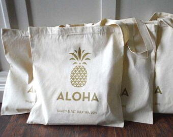 20+ Pineapple Aloha Custom Destination Wedding Welcome Canvas Tote Bags - Eco-Friendly Natural Cotton Canvas