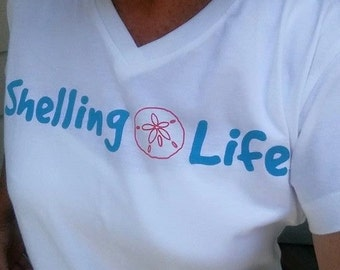 Shelling Life® Ladies V Neck Tshirt - Beachwear - Ladies Wear - Free Shipping US