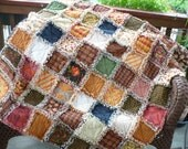 FREE SHIPPING CIJ Fall Harvest Homespun Rag Quilt- Autumn Spice Sampler Picnic Lap Throw Ready to Ship