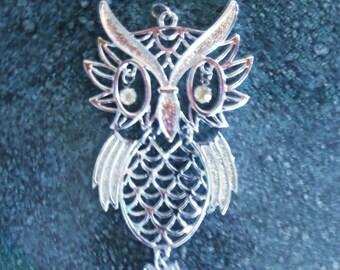60s Large Silver Tone Owl Pendant