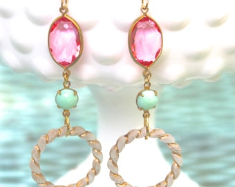 Pink Mint Green White Gold Rope Vintage Drop Dangle Earrings - Wedding, Bridal, Bridesmaid, Beach Jewelry