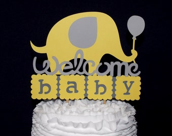 Yellow & Grey Elephant Cake Topper Gender Neutral Cake Decoration Welcome Baby Shower Cake Gender Reveal Shower Little Peanut READY TO SHIP