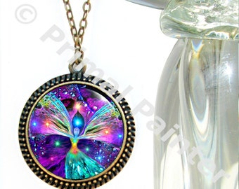"Rainbow Chakra Necklace, Angel Pendant, Reiki Jewelry ""Bubbles of Clearing"""