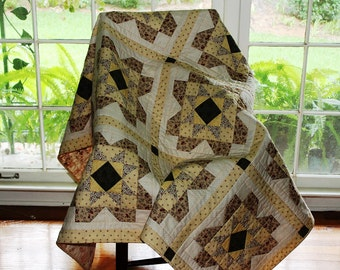 Throw quilt yellow brown cream rust colors 62 inch square throw size reversible