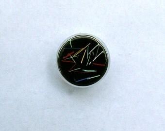 Copper Enamel Drawer Pulls  / Colorful Threads on Black Dresser Knobs Pair / retro 60s
