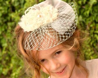 Girls Hair Fascinator, Girls Flower Girl Hair Clip, Girls Wedding Hair Clip,
