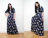 Vintage Floral Boho Dress Hippie Dress Maxi Dress 70s