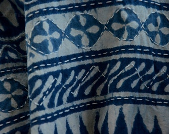 Quilt top fabric. Indigo Batik. Make jackets, quilts, pillows. Hand embroidered in rustic kantha designs. Monk's Cape. 44 inches wide.