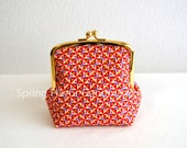 Limited: Liberty cotton geometric frame purse - small cosmetic pouch, clasp purse