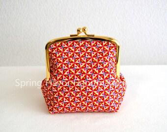 SALE Liberty cotton geometric frame purse - small cosmetic pouch, clasp purse