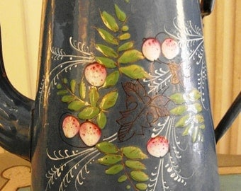 Enameled  French COFFEE POT  Blue hand painted STRAWBERRIES