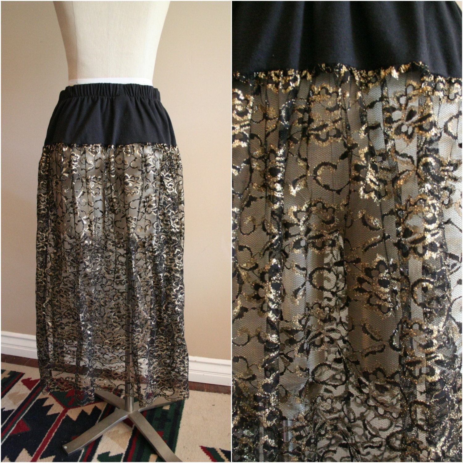 vintage black and gold lace maxi skirt size medium by lasophia