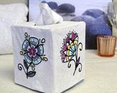 Bright Blackwork Flowers Tissue Box Cover