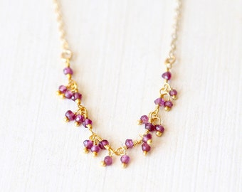Gold Garnet Garnish - 14K gold filled necklace- everyday simple birthstone necklace