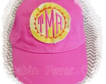 Hat, Toddler Baseball Cap, TODDLER - - - Preppy Monogram on Chevron Design, Baseball Cap