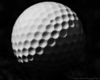 The GOLF BALL Fine Art Photography, For the Sports Enthusiast, Golf, Gift for Him, Black and White, Liz Thomas
