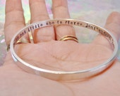 Heavy Solid Sterling Silver Personalized Bangle Custom Made in Your Size Can Be Personalized Inside or Outside or Both 9 Font Choices
