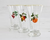 Vintage Drinking Glasses - Orange Apple Berry Glassware Kitchenware Barware Collection