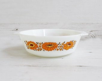 Vintage Pyrex Lidded Dish - Orange Sunflower Cooking Kitchenware Serving Milkglass