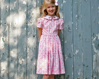 80's Girl's Pink Ribbon Dress Size 7