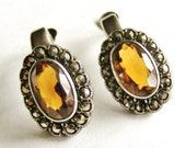 English vintage sterling silver citrine marcasite clip earrings