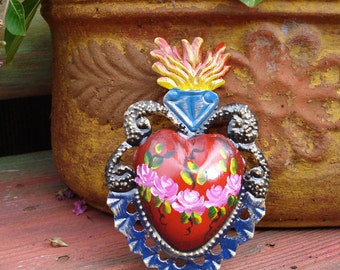 Tin Sacred Flaming Heart With Flowers or Rays or Painted Flowers