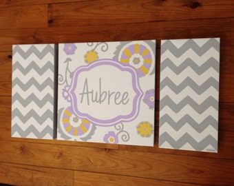 large colorful nursery art - personalized- hand painted- purple plum grey yellow