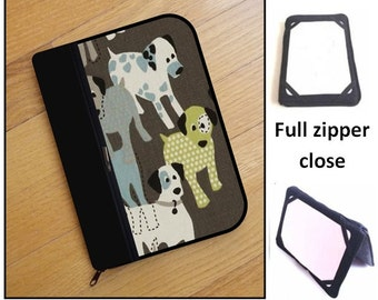 personalized HARD case - ipad case/ kindle case/ nook case/ others - full zipper close - dogs