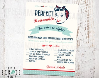 50's Bridal Shower Game The price is right- Housewife Retro 1950's Perfect Housewife 50's Kitchen Bridal Shower Invitation to match in shop