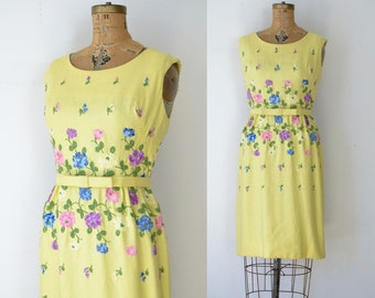 1950s Linen Embroidered Wiggle Dress / 50s Yellow Floral Dress