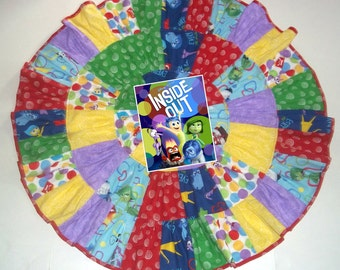 "Inside Out Inspired Patchwork Twirl Skirt Custom size up to 27"" long"