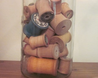Vintage Thread Spools, Set of 30 Spools, Mid Century, Sewing Room, Craft Supplies