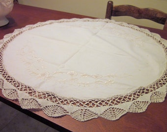 Vintage Round Table Scarf/Doily, Off-White, Embroidered and Crochet Edges, Vintage, Cottage/Shabby Chic