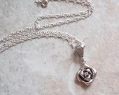 Diamond Rose Necklace Sterling Silver Cognac Diamond Upcycled Vintage CW0295