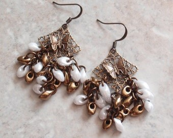 Butterfly Beaded Earrings Filigree Brass Findings Pierced Post Hand Made