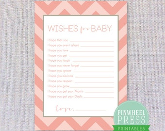 Print Your Own Baby Wish Cards - Pink & Grey - Chevron - Baby Book Keepsake - Baby Shower Game