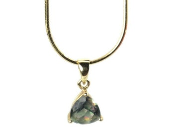 Mystic Topaz 14 K Gold Pendant Trillion Green Cut Stone Dainty Necklace Gift Wrapped