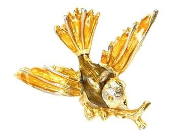 Bird Brooch Pin Enamel Gold Tone Vintage 1960s 1970s Brown Yellow Wren Branch