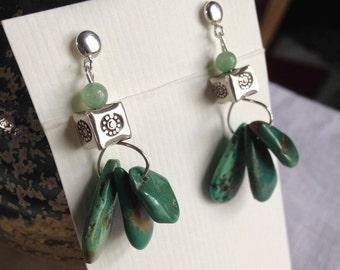 Green Turquoise Trio Earrings
