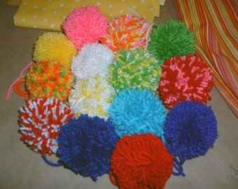 E185  Yarn Pom Poms  Set of 3  Handmade Pom Poms