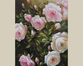 ORIGINAL on canvas Oil Painting rose Flowers Colorful White pink ready to hang realism cream tones handmade large green ART by MArchella
