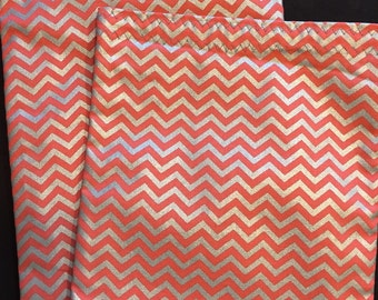 Coral Sandwich Bag, Teacher Gift, Party Favor Bag, Reusable Lunch Bag, Coral and Silver, Coral Kitchen, Coral Chevron, Chevron Sandwich Bag